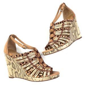 Cole Haan   Leopard Snakeskin Leather Wedge Heel